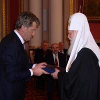 Патріарх Філарет і Віктор Ющенко (Нагородження орденом Ярослава Мудрого ІІ ст.), 2006 р.